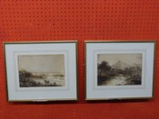 Pair of small framed unsigned Watercolours, landscape sketches, 18 x 24cm