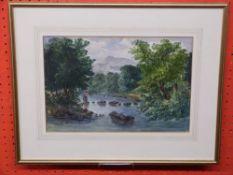 Unsigned Watercolour, River Scene, 20 x 30cm