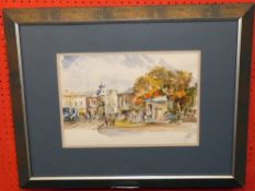Indist sig Pen & Watercolour, Town Scene with figures, 25 x 34 cm