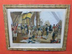 "Framed coloured Print, ""Nelson's last Signal at Trafalgar"", 40 x 62cm"