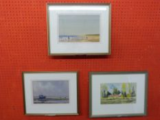"""Peter Solly, Three various Watercolours, """"Low Tide, Wells"""", """"Holkham"""" and """"Cottages at"""