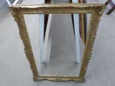 Gilt painted ornately moulded gesso Picture Frame, aperture approx 60 x 91cm