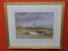 "Charles E Burton, signed LL, Watercolour, Heathland, 26 x 35cm, titled verso ""Bellevoir Toe"""