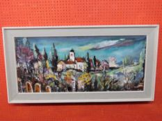 Continental School, Oil on canvas, Abstract Landscape with Church, 39 x 90cm