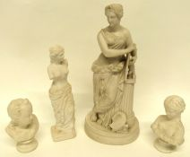 Group of Parian wares including a bust of children, figure of a classical lady (4), largest 34cm
