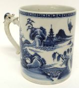 18th century Chinese porcelain tankard decorated in underglaze blue with a Chinese lady in a