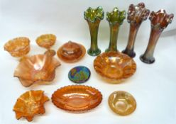 Quantity of carnival glass, various dishes, pedestal bowl and four vases (qty)