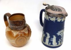 Wedgwood style jasperware jug with blue and white figures together with a Royal Doulton stoneware