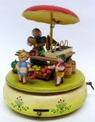 1950s German automaton, featuring a market stall with figures of children, rotated by a musical