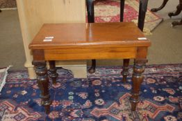 Low table commode raised on ring turned legs, approx 55 x 34cm