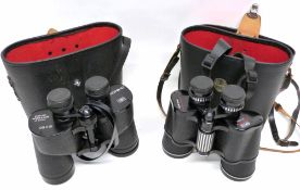 Two binoculars in cases, one manufactured by Chinon 10x50, the other by Prinzlux Spacemaster 7x50 (