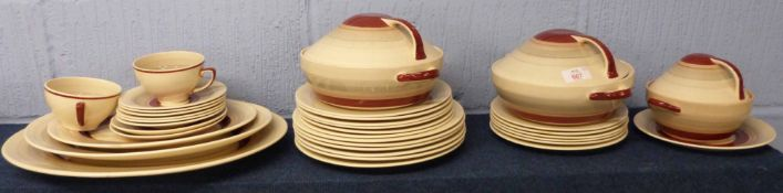 Quantity of mid-20th century Art Deco dinner wares designed by Susie Cooper comprising two tureens