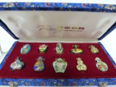 Collection of miniature cloisonne bottles or vases in original box (10)