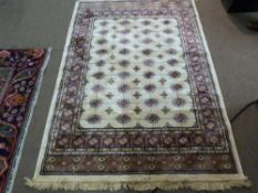Ivory ground Kashmir Rug, with all-over Bulkara design, 180cm x 117cm approximately