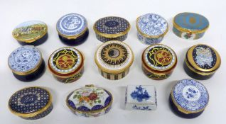 Group of 14 patch boxes, some by Spode and other makers, mainly English and French, some also