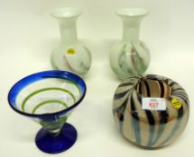 Group of Murano Art glass including a vase with streaked black and silver design, a blue vase with