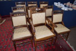Set of nine upholstered 19th century dining chairs with ring turned legs and stretchers, approx 47cm