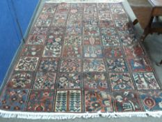 Vintage Persian Baktia Carpet, with all-over panelled design 260cm x 167cm approximately