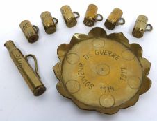 Piece of trench art including bullet cases modelled as small tankards