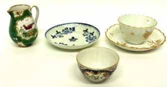 Group of English porcelain including a Liverpool porcelain blue and white saucer, a Worcester blue