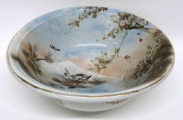Large pottery bowl decorated in Japanese style with birds and Mount Fuji in the background, 36cm