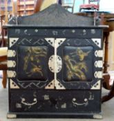 Oriental Collectors Cabinet with japanned finish, decorated throughout with various landscape senes,