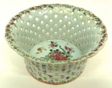 Small Chinese porcelain dessert basket, late 18th century, decorated in famille rose with floral