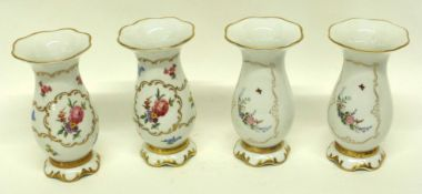 Group of four Continental porcelain vases, all decorated with flowers in Meissen style (4)