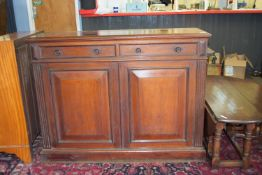 19th century mahogany side cabinet with carved reeded decoration, width approx 125cm