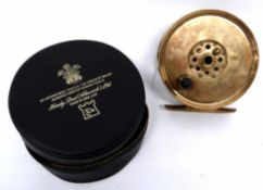 Hardy Bros salmon reel, marked J B Moscrops, patent Manchester, in original box