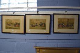 Set of three framed coaching prints