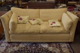 Mark Elliot cream fabric covered three-seater settee with four removable cushions and five