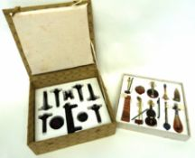 Chinese hardstone miniature set of musical instruments and stands in original box