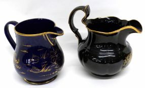 Two early to mid 19th century pottery jugs, one with blue ground and inscription in gilt dated 1859,