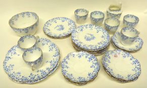 Part Foley china tea set with a blue printed floral design comprising plates, cups and saucers, milk