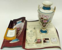 Minton rose basket decorated vase, made in a limited edition of 9500, numbered 1975, with original