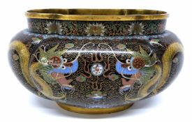 Large lobed Chinese cloisonne dish, decorated in typical fashion with dragons, 20cm long