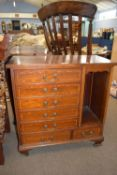 Edwardian seven-drawer music cabinet with inlaid decoration, width approx 69cm