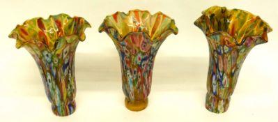 Three Murano millefiori lamp shades, 15cm high (3)