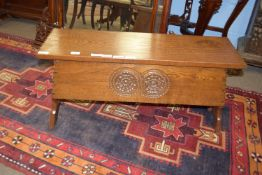 Hand carved oak storage box with decorative carving and signed Jack Grimble, Cromer to interior of