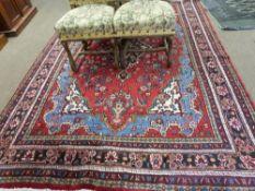 Rich red ground full pile Persian Serouke Carpet, floral medallion design 296cm x 200cm