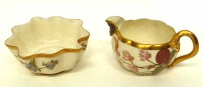 Small Royal Worcester blush ground bowl decorated with flowers, together with a blush ground milk