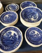 Quantity of dinner wares by Copeland in the Spode's Tower pattern, all with typical blue and white
