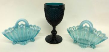 Glass chalice with a hobnail design and faceted stem, in green, together with two small green