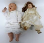 """Quantity of dolls, one with head impressed """"H W Germany"""", and further modern doll in original"""