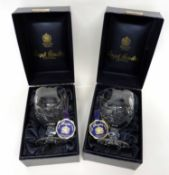 Pair of Royal Brierley cut glass crystal vases or goblets, made to commemorate the marriage of the