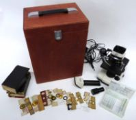 Microscope in wooden case together with an interesting collection of vintage flora and fauna slides,