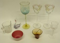 Group of glasswares including a large wine glass with green coloured ripple design (repair to base),