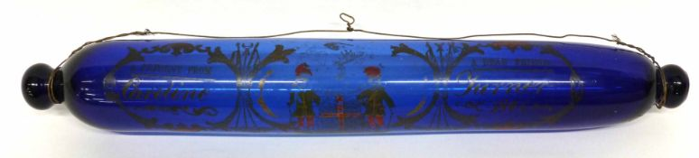 """Nailsea type blue glass rolling pin with inscription """"A present from a dear friend"""" dated 1861, 40cm"""