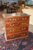 19th century mahogany low chest of four drawers, raised on bracket feet, width approx 68cm max